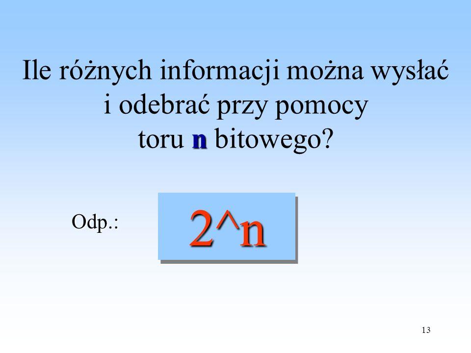 13 n Ile różnych informacji można wysłać i odebrać przy pomocy toru n bitowego? 2^n 2^n Odp.: