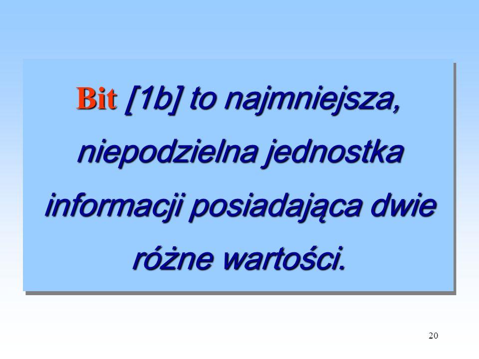 20 Bit [1b] to najmniejsza, niepodzielna jednostka informacji posiadająca dwie różne wartości.