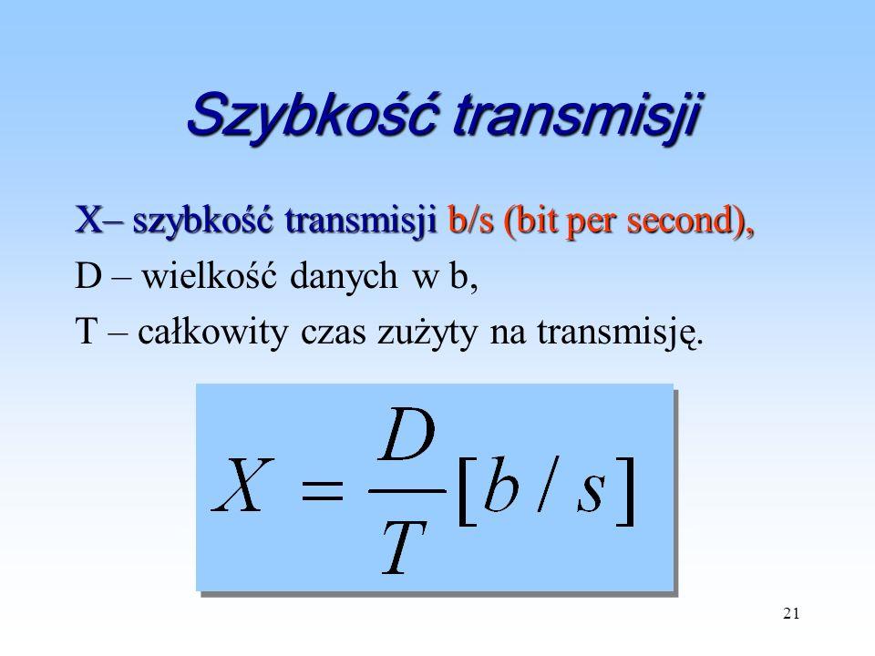 21 Szybkość transmisji X– szybkość transmisji b/s (bit per second), D – wielkość danych w b, T – całkowity czas zużyty na transmisję.