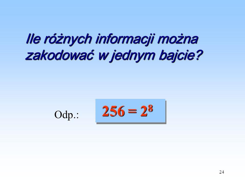 24 Odp.: 256 = 2 8 256 = 2 8 Ile różnych informacji można zakodować w jednym bajcie?
