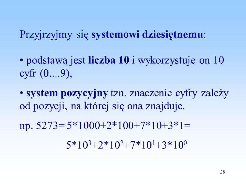 28 Przyjrzyjmy się systemowi dziesiętnemu: podstawą jest liczba 10 i wykorzystuje on 10 cyfr (0....9), system pozycyjny tzn. znaczenie cyfry zależy od