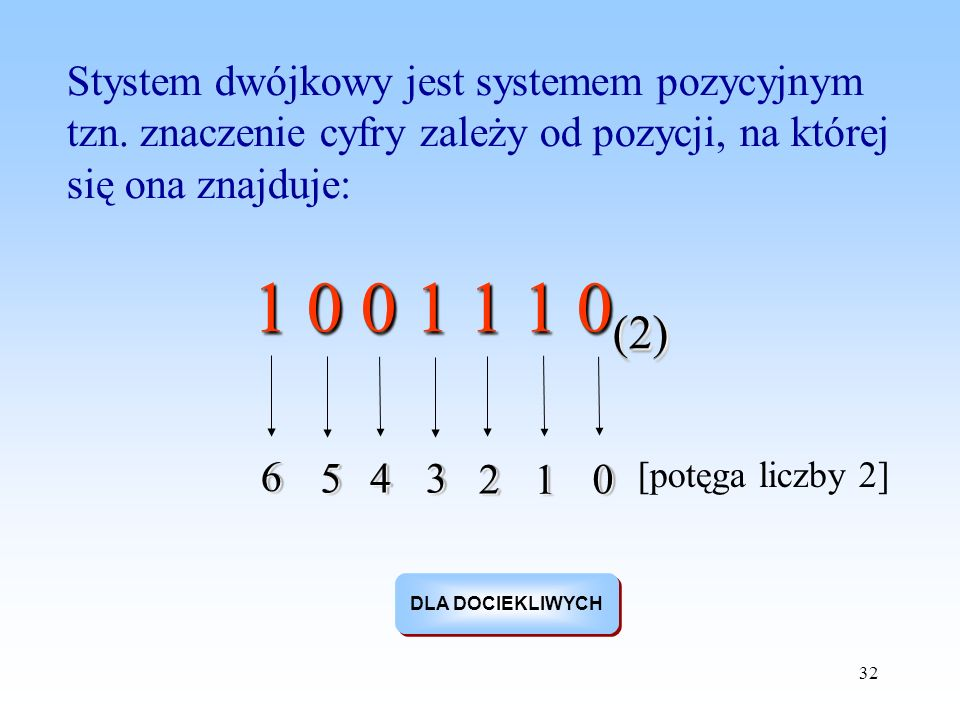 32 Stystem dwójkowy jest systemem pozycyjnym tzn. znaczenie cyfry zależy od pozycji, na której się ona znajduje: 1 0 0 1 1 1 0 (2) 00 11 22 334455 66