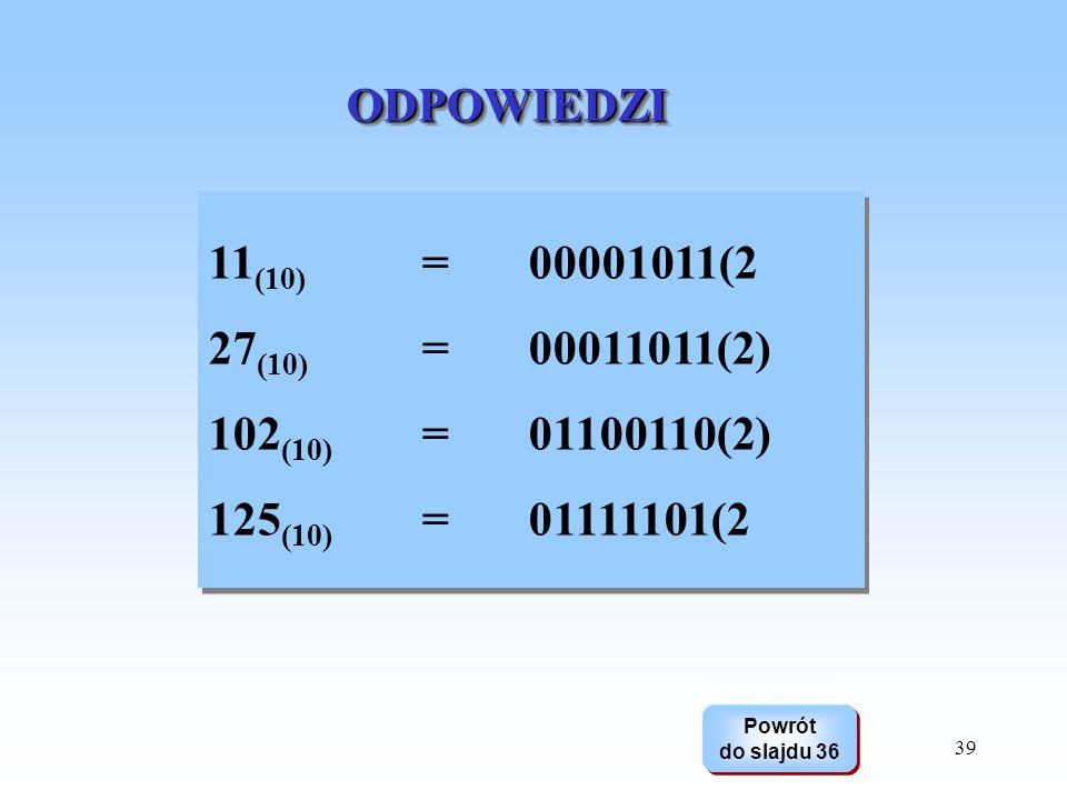 39 ODPOWIEDZIODPOWIEDZI Powrót do slajdu 36 Powrót do slajdu 36 11 (10) =00001011(2 27 (10) = 00011011(2) 102 (10) = 01100110(2) 125 (10) =01111101(2