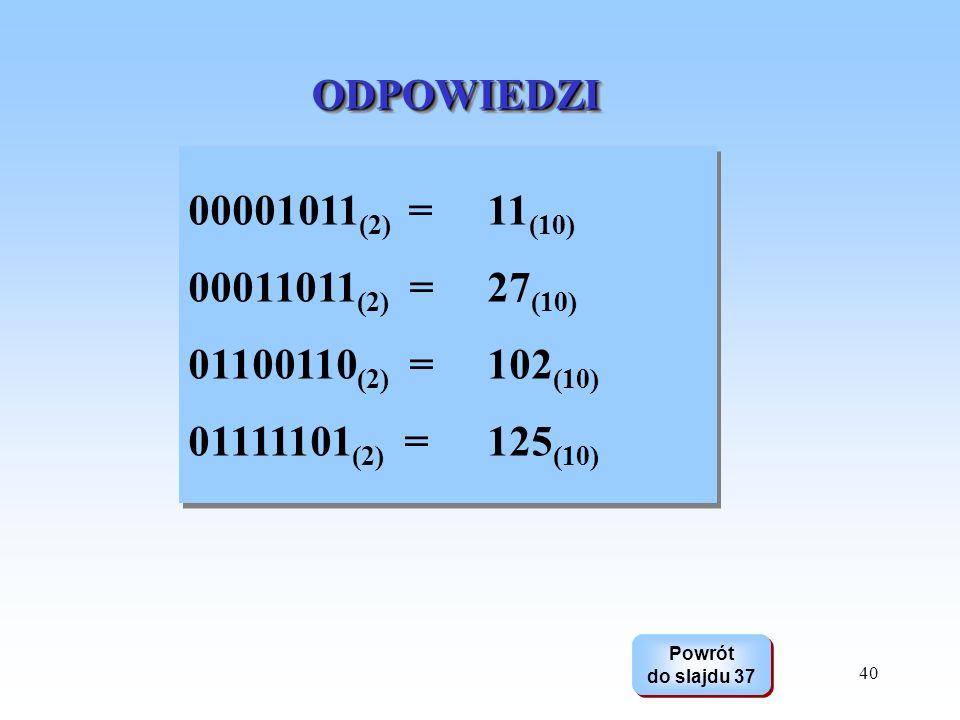 40 ODPOWIEDZIODPOWIEDZI Powrót do slajdu 37 Powrót do slajdu 37 00001011 (2) = 11 (10) 00011011 (2) = 27 (10) 01100110 (2) = 102 (10) 01111101 (2) = 1