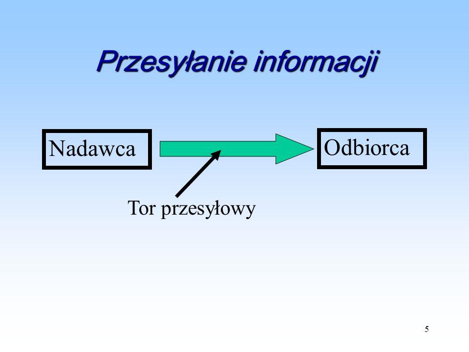 5 Przesyłanie informacji Nadawca Odbiorca Tor przesyłowy