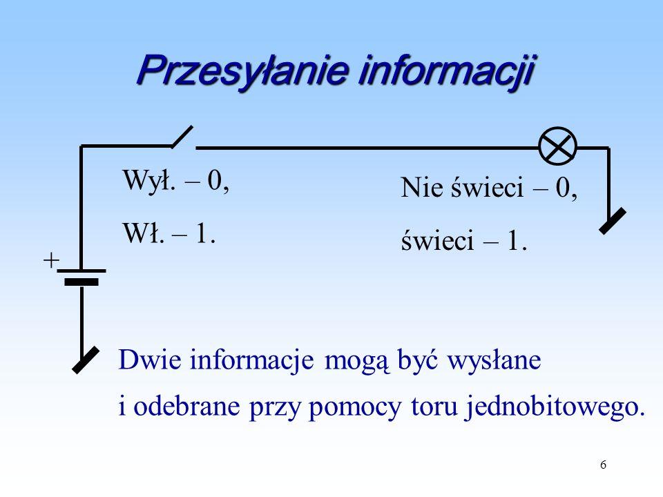 6 Przesyłanie informacji + Wył. – 0, Wł. – 1. Nie świeci – 0, świeci – 1. Dwie informacje mogą być wysłane i odebrane przy pomocy toru jednobitowego.