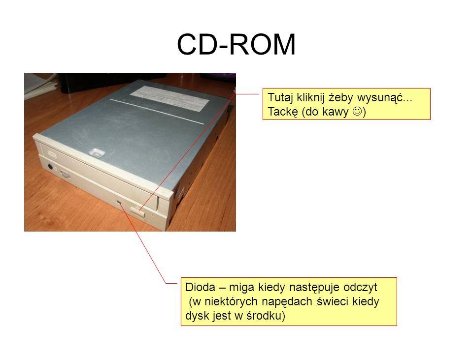 CD-ROM Tutaj kliknij żeby wysunąć... Tackę (do kawy ) Dioda – miga kiedy następuje odczyt (w niektórych napędach świeci kiedy dysk jest w środku)