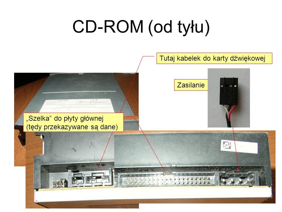 CD-ROM (od tyłu) Tutaj kabelek do karty dźwiękowej Ustawienia master/slave (zworka) Zasilanie Szelka do płyty głównej (tędy przekazywane są dane)