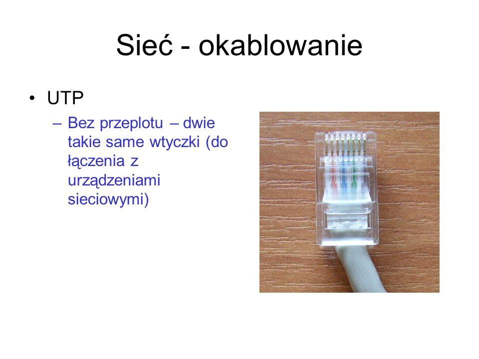 Sieć - okablowanie UTP –Bez przeplotu – dwie takie same wtyczki (do łączenia z urządzeniami sieciowymi)