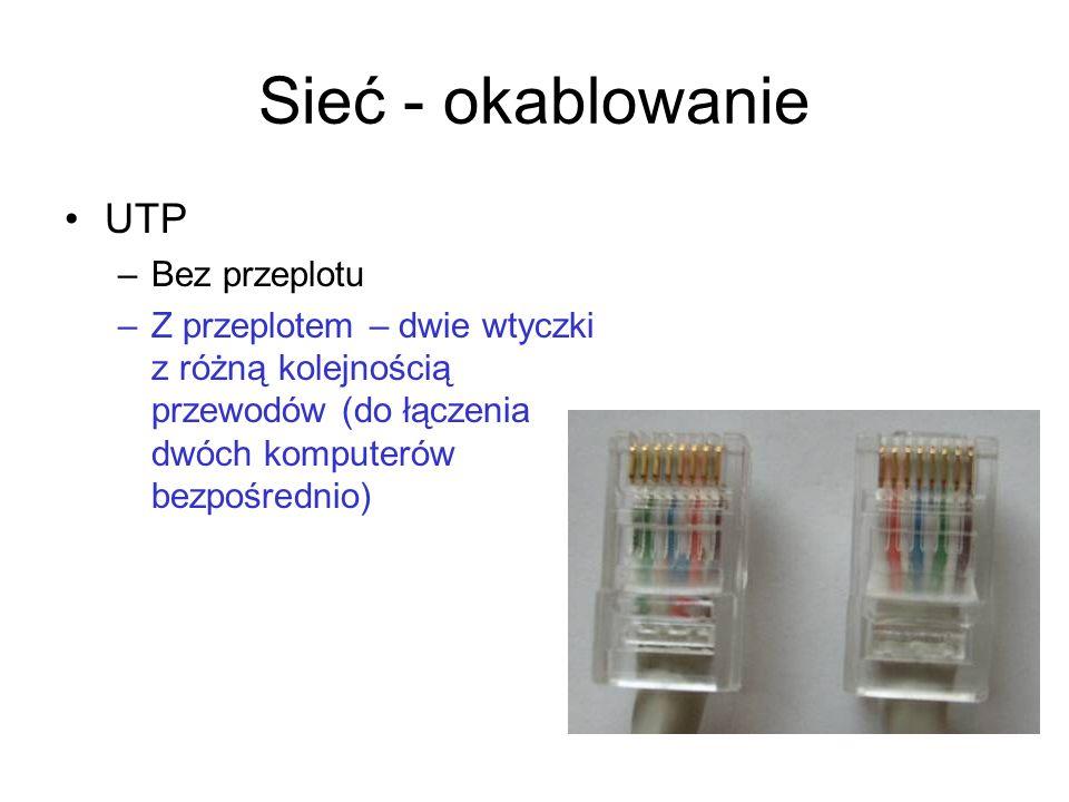 Sieć - okablowanie UTP –Bez przeplotu –Z przeplotem – dwie wtyczki z różną kolejnością przewodów (do łączenia dwóch komputerów bezpośrednio)