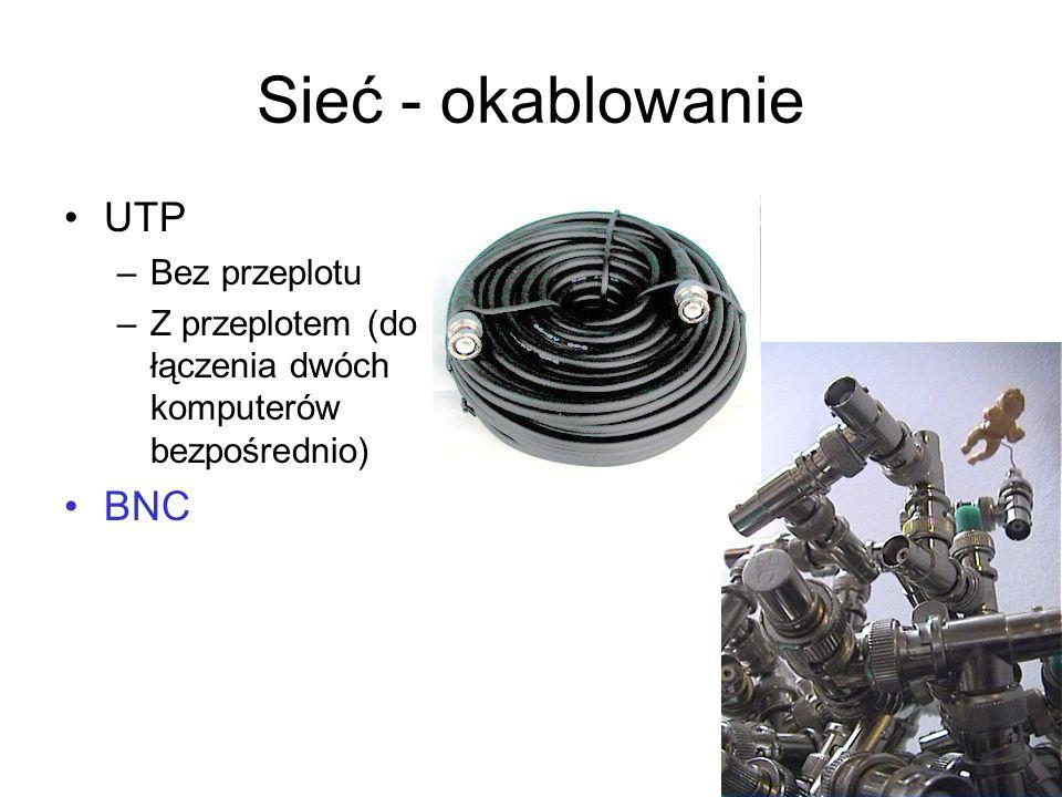 Sieć - okablowanie UTP –Bez przeplotu –Z przeplotem (do łączenia dwóch komputerów bezpośrednio) BNC