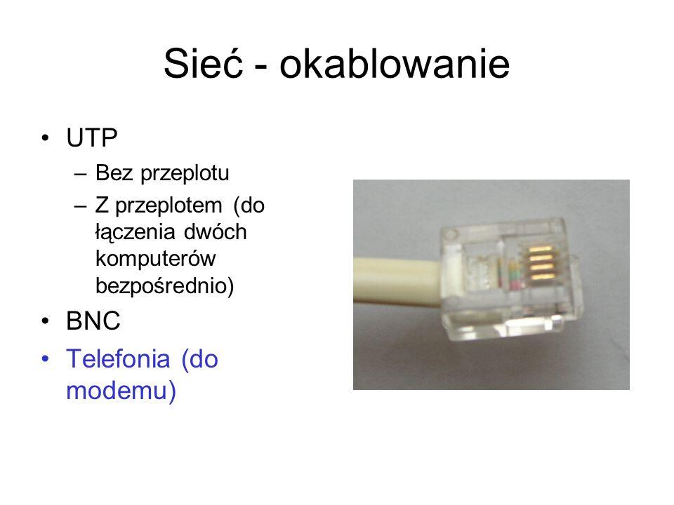 Sieć - okablowanie UTP –Bez przeplotu –Z przeplotem (do łączenia dwóch komputerów bezpośrednio) BNC Telefonia (do modemu)