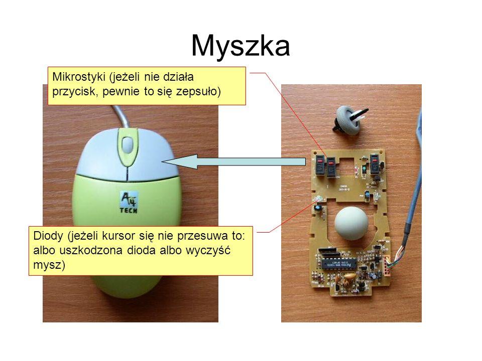 Myszka Mikrostyki (jeżeli nie działa przycisk, pewnie to się zepsuło) Diody (jeżeli kursor się nie przesuwa to: albo uszkodzona dioda albo wyczyść mys