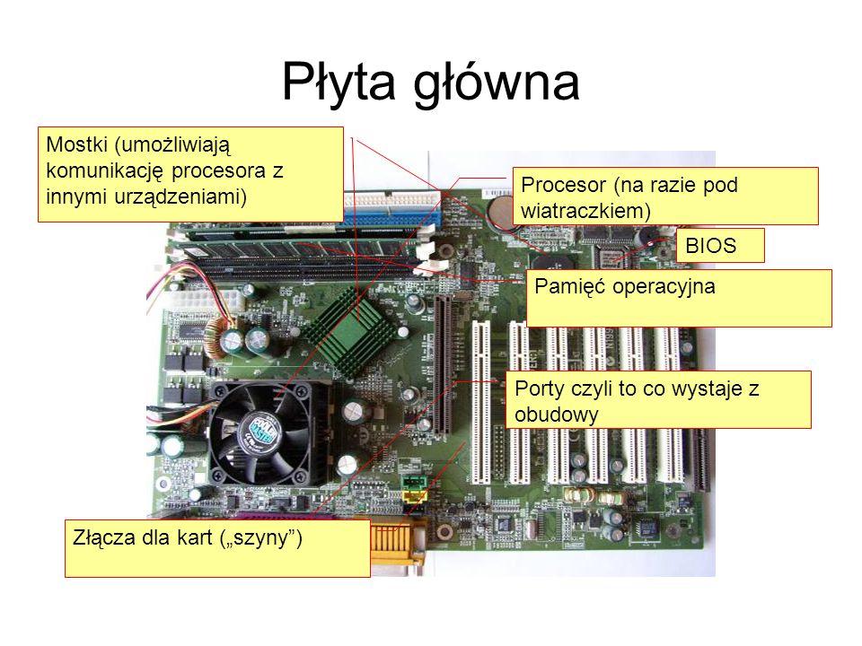 Płyta główna Procesor (na razie pod wiatraczkiem) Pamięć operacyjna Porty czyli to co wystaje z obudowy Mostki (umożliwiają komunikację procesora z in