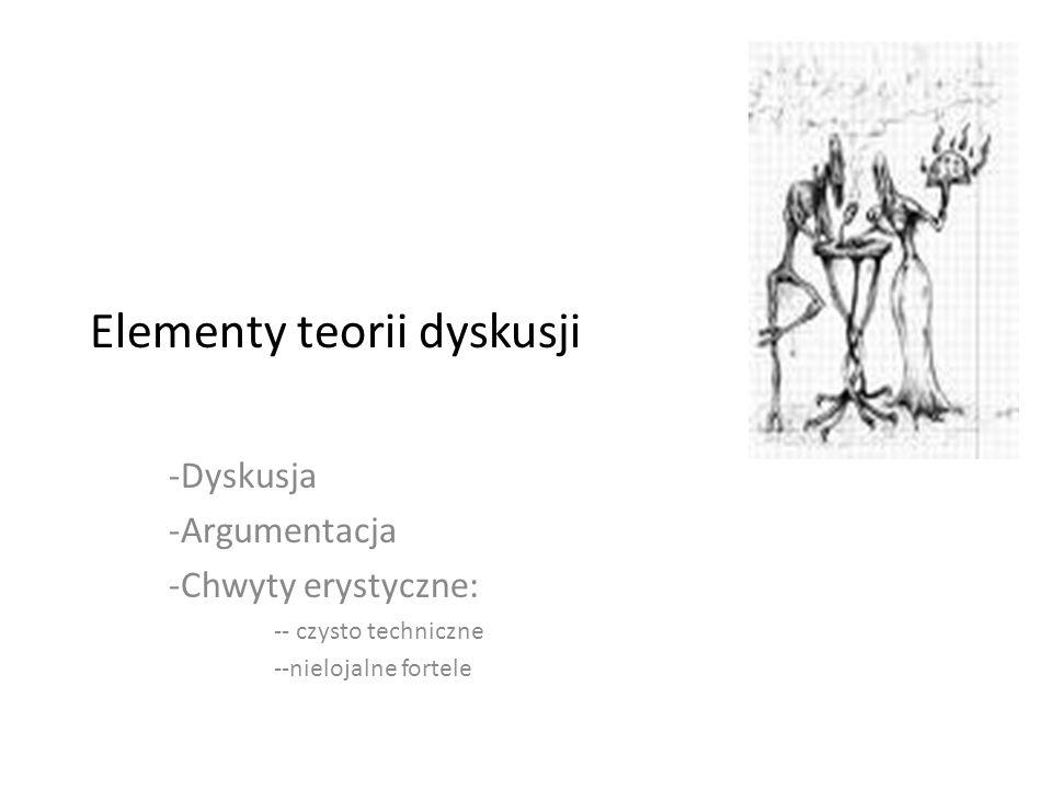 Elementy teorii dyskusji -Dyskusja -Argumentacja -Chwyty erystyczne: -- czysto techniczne --nielojalne fortele