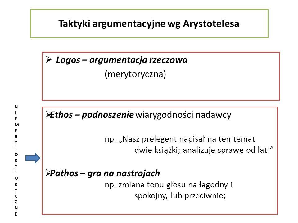 Taktyki argumentacyjne wg Arystotelesa Logos – argumentacja rzeczowa (merytoryczna) Ethos – podnoszenie wiarygodności nadawcy np. Nasz prelegent napis