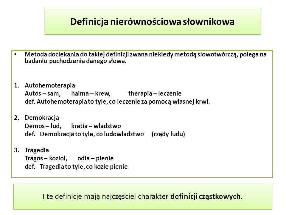 Metoda dociekania do takiej definicji zwana niekiedy metodą słowotwórczą, polega na badaniu pochodzenia danego słowa. 1.Autohemoterapia Autos – sam,ha
