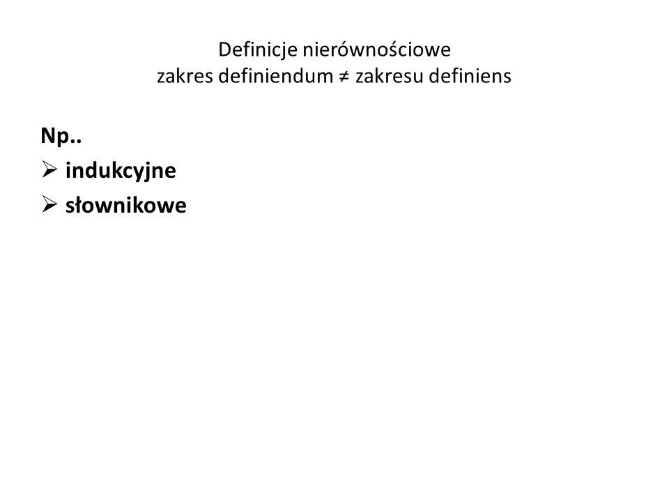 Definicje nierównościowe zakres definiendum zakresu definiens Np.. indukcyjne słownikowe