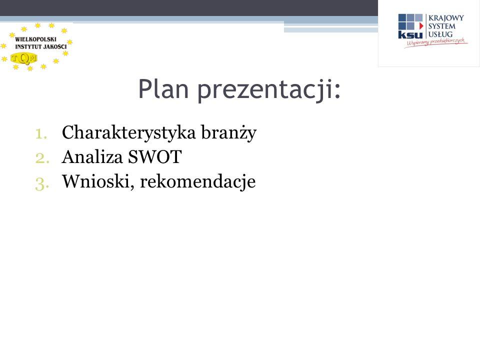 Plan prezentacji: 1.Charakterystyka branży 2.Analiza SWOT 3.Wnioski, rekomendacje