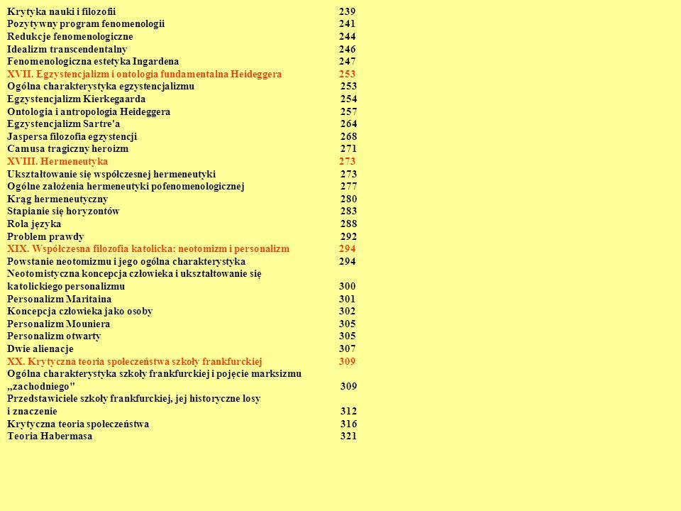 Krytyka nauki i filozofii 239 Pozytywny program fenomenologii 241 Redukcje fenomenologiczne 244 Idealizm transcendentalny 246 Fenomenologiczna estetyk