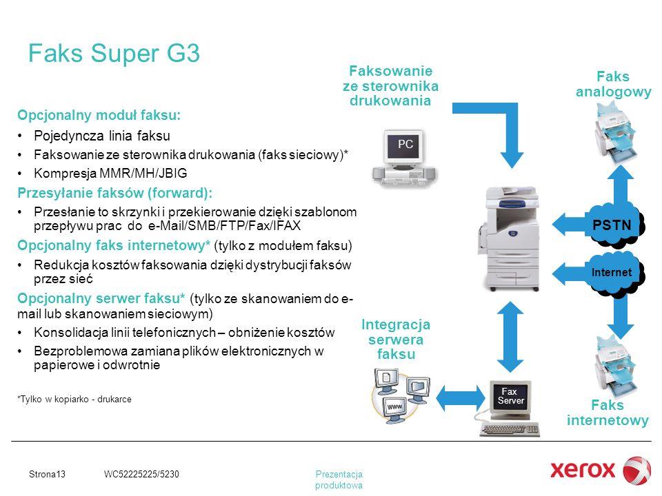 Prezentacja produktowa Strona13 WC52225225/5230 Opcjonalny moduł faksu: Pojedyncza linia faksu Faksowanie ze sterownika drukowania (faks sieciowy)* Ko