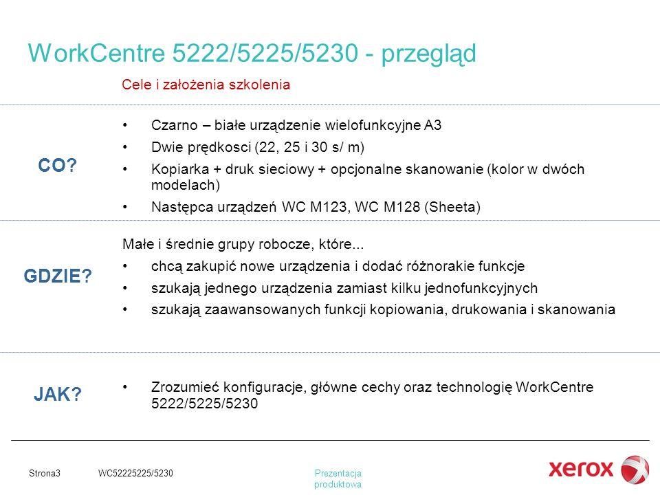 Prezentacja produktowa Strona3 WC52225225/5230 WorkCentre 5222/5225/5230 - przegląd Cele i założenia szkolenia CO? Czarno – białe urządzenie wielofunk