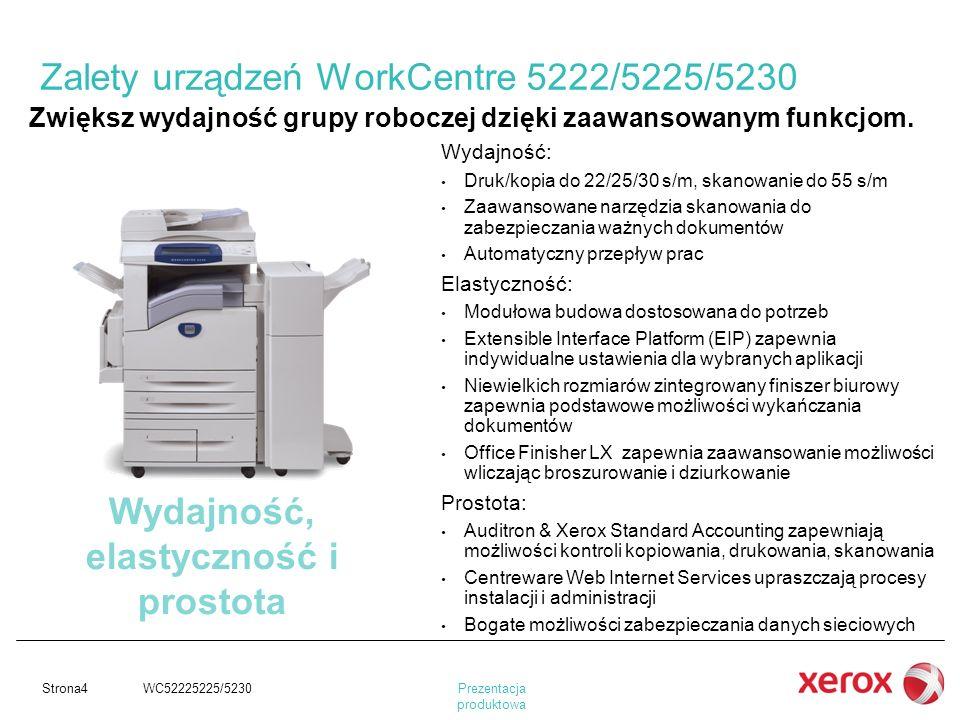 Prezentacja produktowa Strona4 WC52225225/5230 Wydajność: Druk/kopia do 22/25/30 s/m, skanowanie do 55 s/m Zaawansowane narzędzia skanowania do zabezp