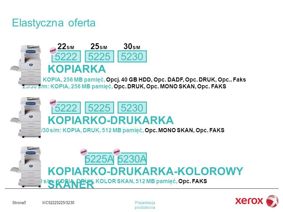 Prezentacja produktowa Strona5 WC52225225/5230 KOPIARKA KOPIARKO-DRUKARKA KOPIARKO-DRUKARKA-KOLOROWY SKANER 22/25/30 s/m: KOPIA, DRUK, 512 MB pamięć,