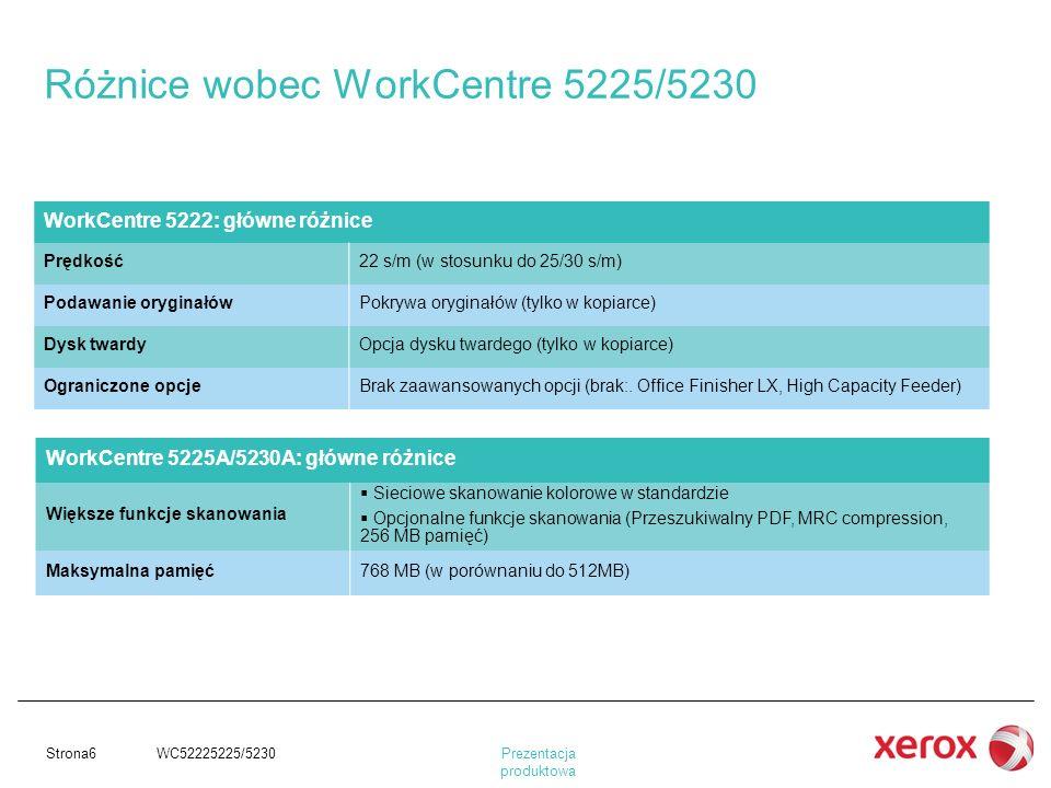 Prezentacja produktowa Strona6 WC52225225/5230 Różnice wobec WorkCentre 5225/5230 WorkCentre 5222: główne różnice Prędkość22 s/m (w stosunku do 25/30