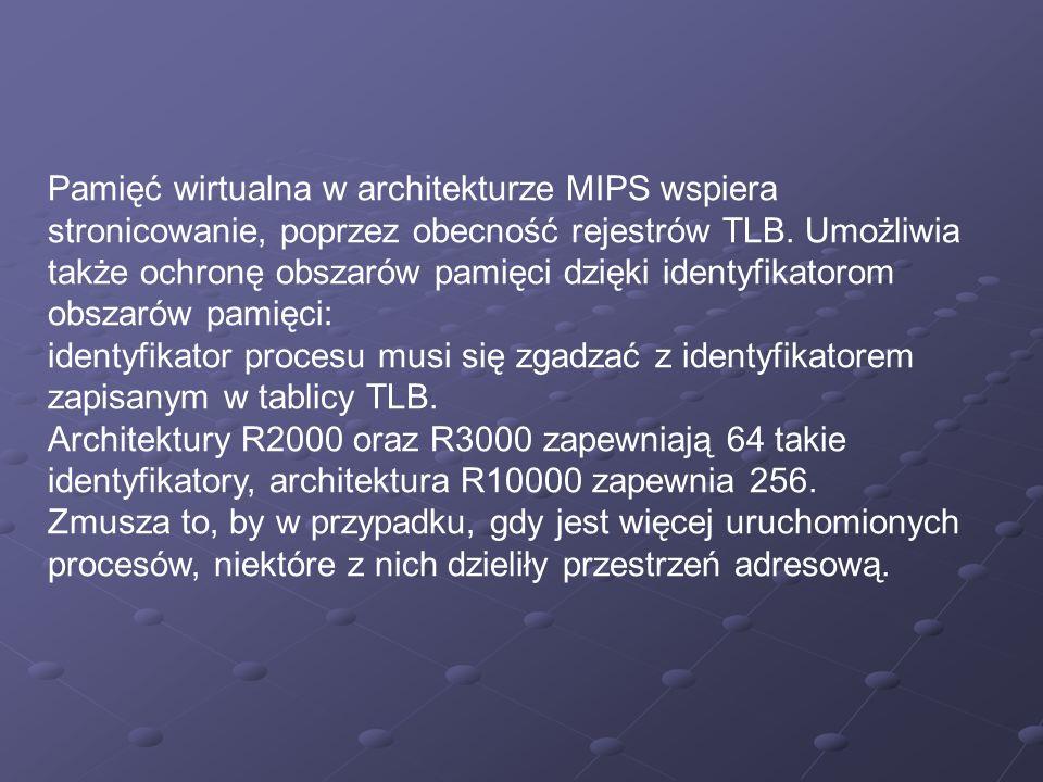 Pamięć wirtualna w architekturze MIPS wspiera stronicowanie, poprzez obecność rejestrów TLB. Umożliwia także ochronę obszarów pamięci dzięki identyfik