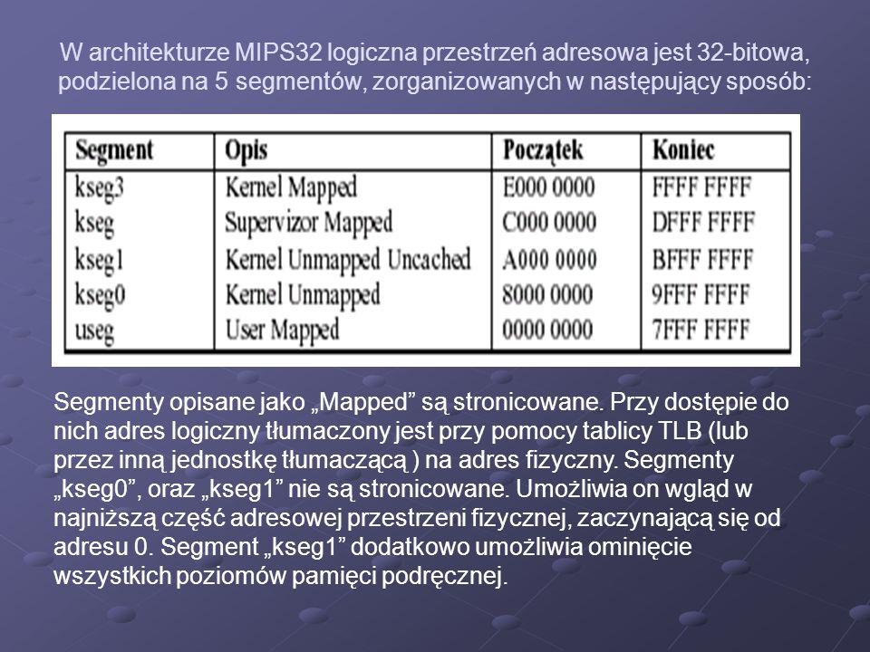 W architekturze MIPS32 logiczna przestrzeń adresowa jest 32-bitowa, podzielona na 5 segmentów, zorganizowanych w następujący sposób: Segmenty opisane jako Mapped są stronicowane.