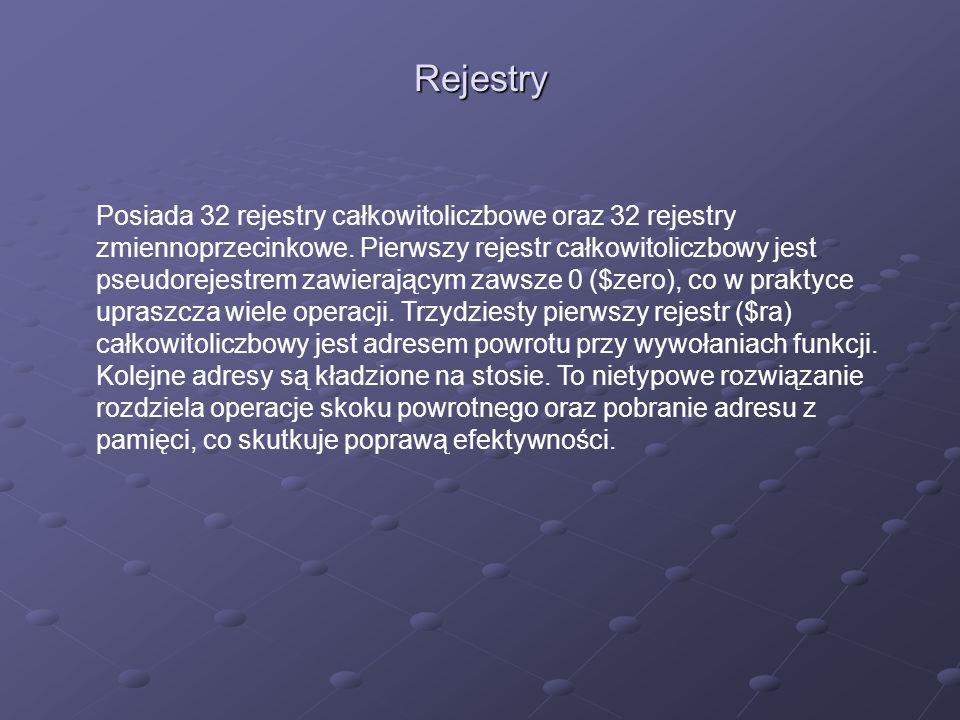 Rejestry Posiada 32 rejestry całkowitoliczbowe oraz 32 rejestry zmiennoprzecinkowe.