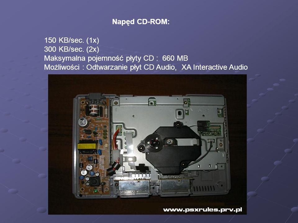 Napęd CD-ROM: 150 KB/sec. (1x) 300 KB/sec. (2x) Maksymalna pojemność płyty CD : 660 MB Możliwości : Odtwarzanie płyt CD Audio, XA Interactive Audio