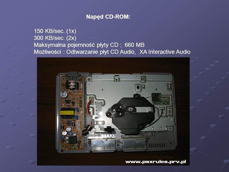 Napęd CD-ROM: 150 KB/sec.(1x) 300 KB/sec.