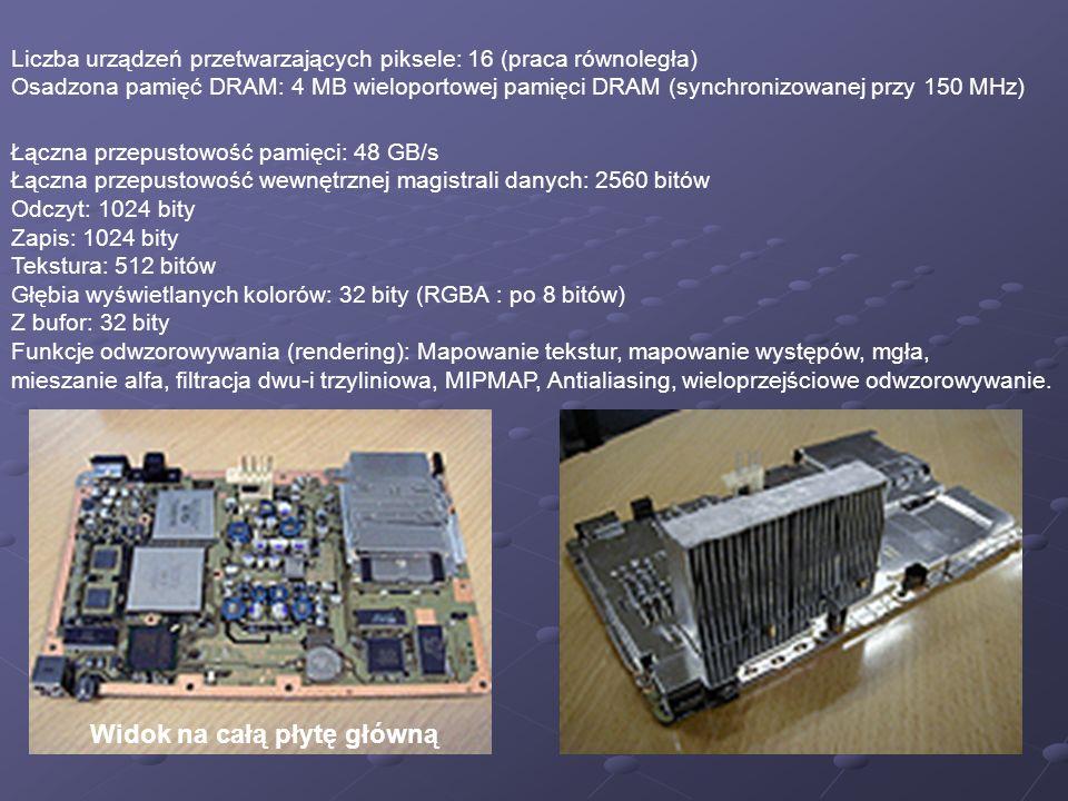 Liczba urządzeń przetwarzających piksele: 16 (praca równoległa) Osadzona pamięć DRAM: 4 MB wieloportowej pamięci DRAM (synchronizowanej przy 150 MHz) Łączna przepustowość pamięci: 48 GB/s Łączna przepustowość wewnętrznej magistrali danych: 2560 bitów Odczyt: 1024 bity Zapis: 1024 bity Tekstura: 512 bitów Głębia wyświetlanych kolorów: 32 bity (RGBA : po 8 bitów) Z bufor: 32 bity Funkcje odwzorowywania (rendering): Mapowanie tekstur, mapowanie występów, mgła, mieszanie alfa, filtracja dwu-i trzyliniowa, MIPMAP, Antialiasing, wieloprzejściowe odwzorowywanie.