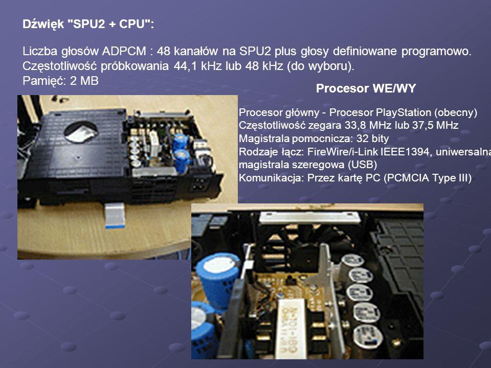Dźwięk SPU2 + CPU : Liczba głosów ADPCM : 48 kanałów na SPU2 plus głosy definiowane programowo.