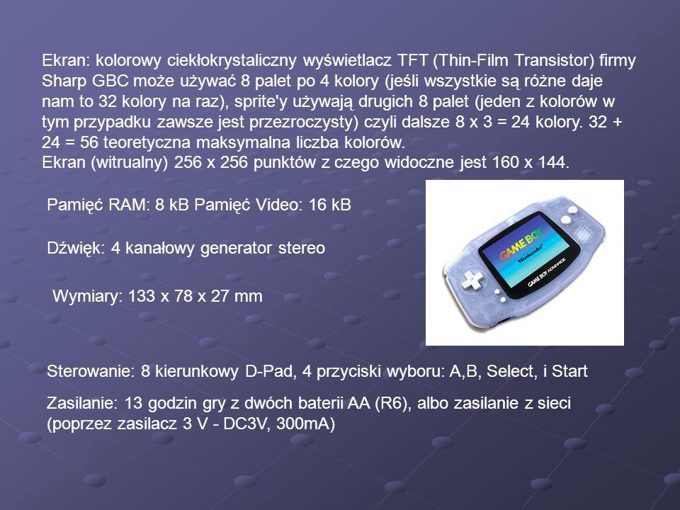 Ekran: kolorowy ciekłokrystaliczny wyświetlacz TFT (Thin-Film Transistor) firmy Sharp GBC może używać 8 palet po 4 kolory (jeśli wszystkie są różne da