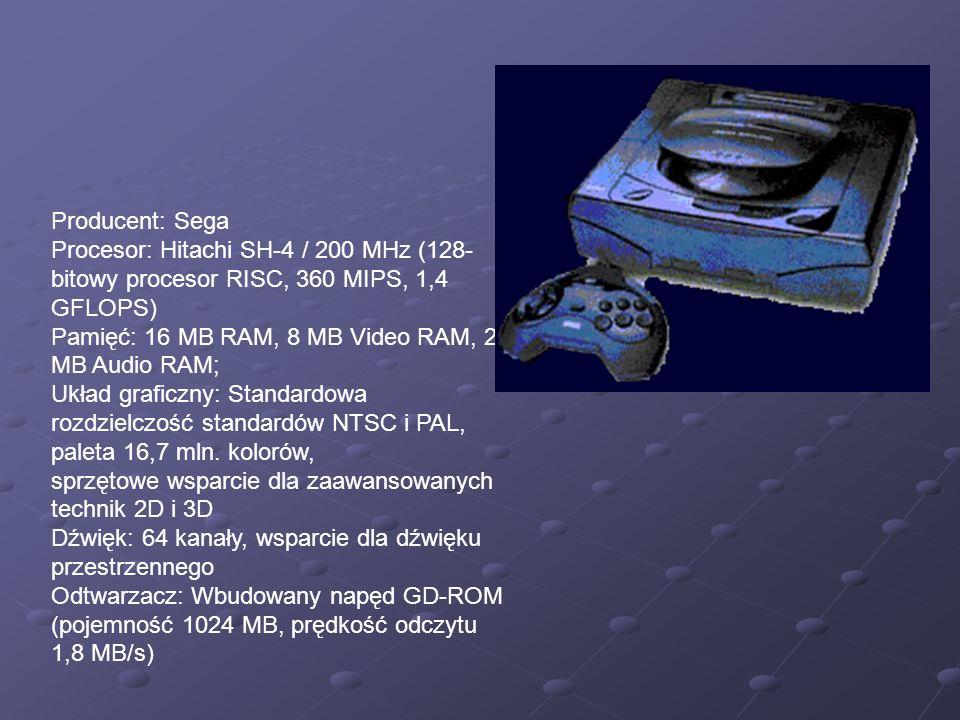 Producent: Sega Procesor: Hitachi SH-4 / 200 MHz (128- bitowy procesor RISC, 360 MIPS, 1,4 GFLOPS) Pamięć: 16 MB RAM, 8 MB Video RAM, 2 MB Audio RAM;