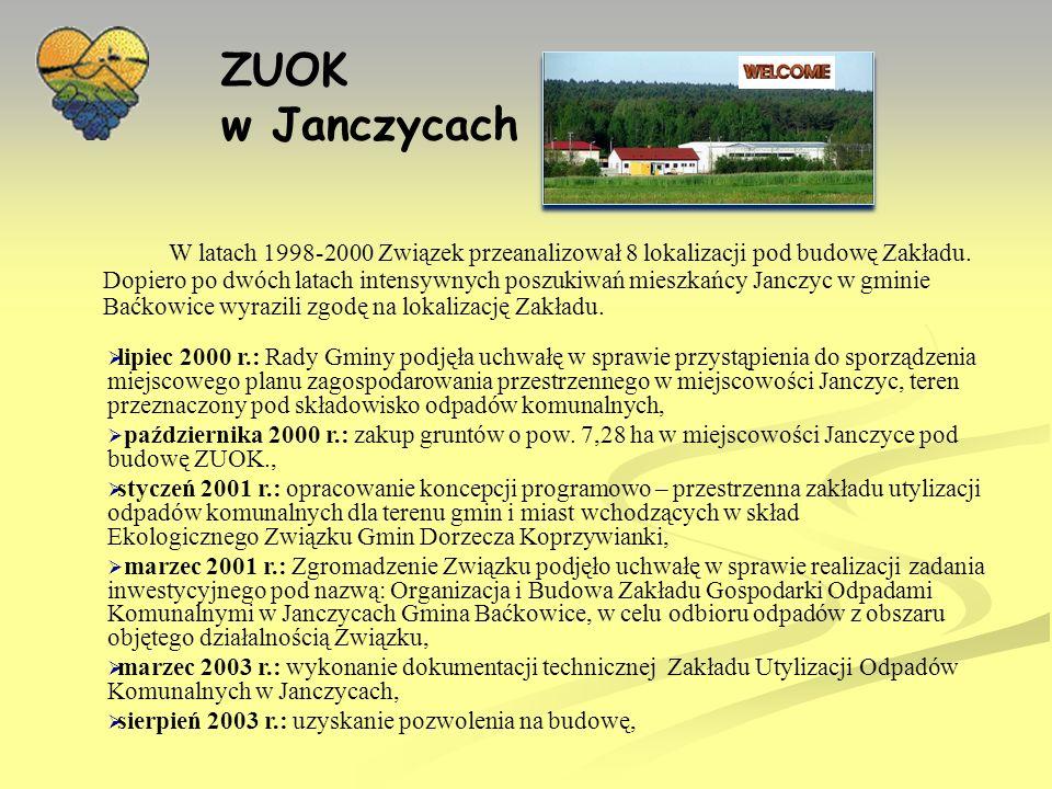 ZUOK w Janczycach maj 2004 r.: podpisanie umowy z Zakładem Techniki Ochrony Środowiska FOLEKO ze Świdnicy na budowę ZUOK Janczyce, maj 2004 r.: podpisanie umowy z konsorcjum ABM SOLID z Tarnowa, Małopolska Wytwórnia Maszyn Brzesko-Serwis z Brzeska oraz Horstman Budowa Urządzeń i Technika Ekologiczna z Wągrowca na dostawy urządzeń do ZUOK Janczyce, 22 czerwca 2005 r.: decyzja ŚR.III.6618-1/04 Wojewody Świętokrzyskiego w sprawie udzielenia Pozwolenia zintegrowanego dla instalacji składowania odpadów zlokalizowanej na terenie Zakładu Utylizacji Odpadów Komunalnych w Janczycach gm.