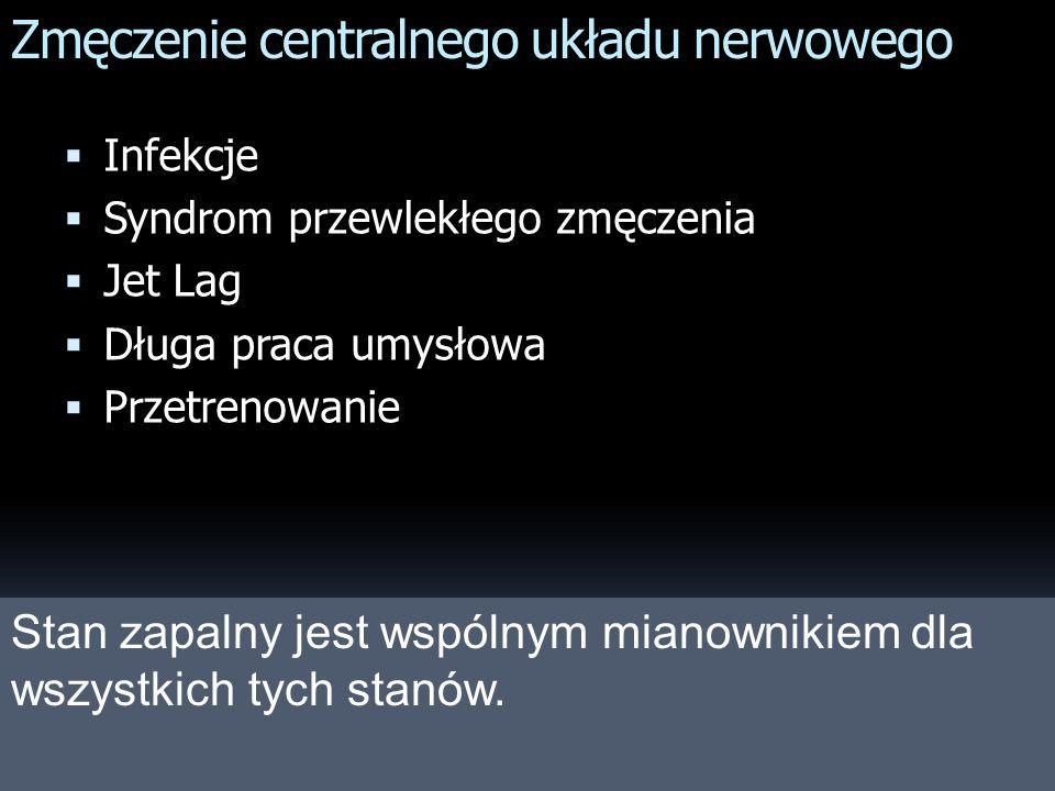 Zmęczenie centralnego układu nerwowego Infekcje Syndrom przewlekłego zmęczenia Jet Lag Długa praca umysłowa Przetrenowanie Stan zapalny jest wspólnym