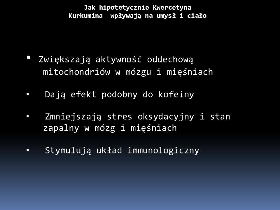 Jak hipotetycznie Kwercetyna Kurkumina wpływają na umysł i ciało Zwiększają aktywność oddechową mitochondriów w mózgu i mięśniach Dają efekt podobny d