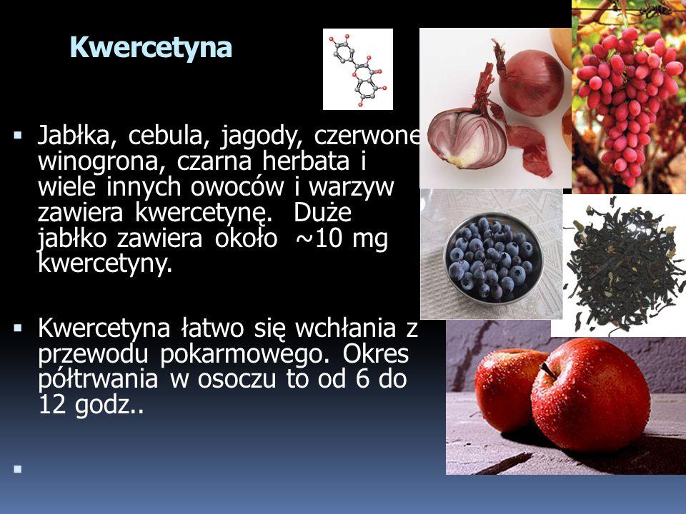 Jabłka, cebula, jagody, czerwone winogrona, czarna herbata i wiele innych owoców i warzyw zawiera kwercetynę. Duże jabłko zawiera około ~10 mg kwercet