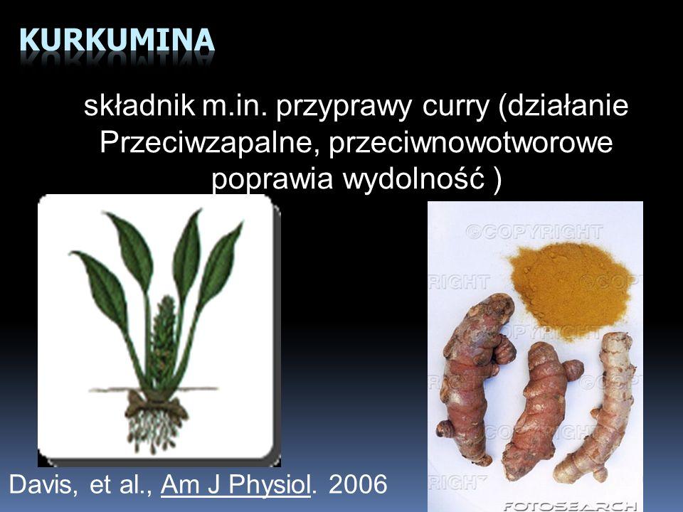Davis, et al., Am J Physiol. 2006 składnik m.in. przyprawy curry (działanie Przeciwzapalne, przeciwnowotworowe poprawia wydolność )