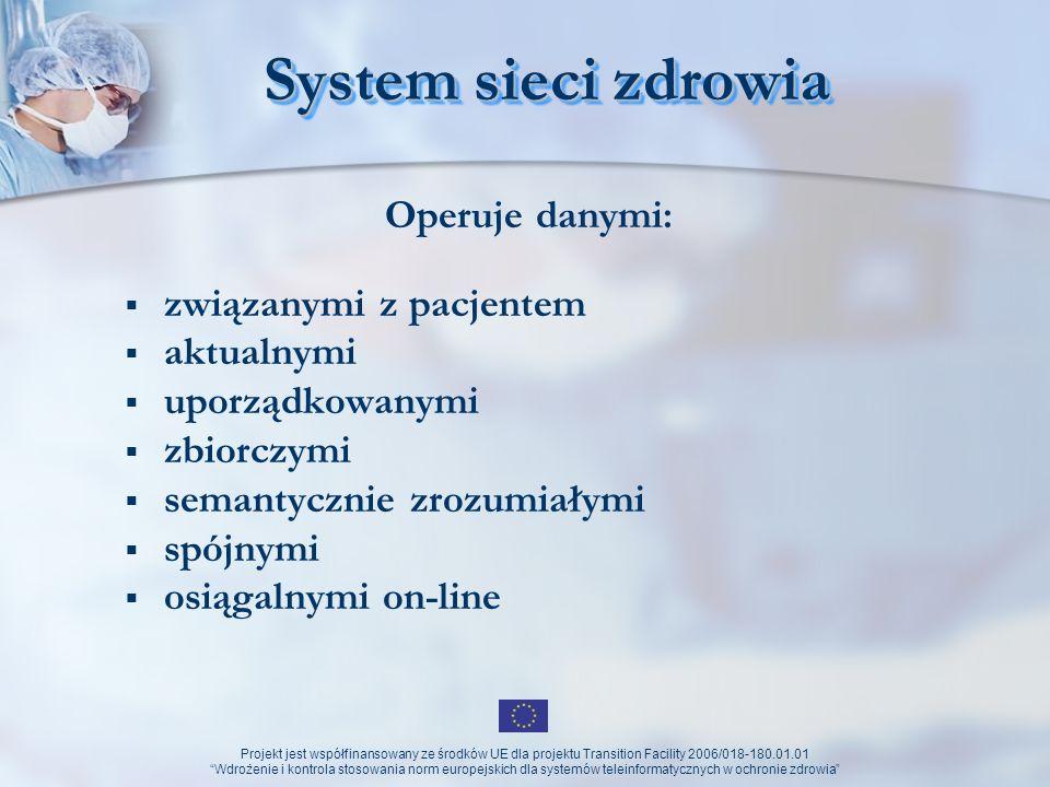 Projekt jest współfinansowany ze środków UE dla projektu Transition Facility 2006/018-180.01.01 Wdrożenie i kontrola stosowania norm europejskich dla systemów teleinformatycznych w ochronie zdrowia Health Net - początki w Polsce Kardiologia dziecięca: Polski Rejestr Wrodzonych Wad Rozwojowych (1997r.) wchodzący w skład Eurocat – europejski system rejestru wad wrodzonych (280 ośrodków z 21 krajów)