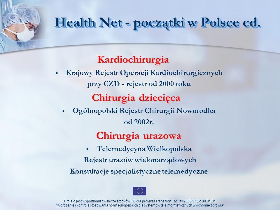 Projekt jest współfinansowany ze środków UE dla projektu Transition Facility 2006/018-180.01.01 Wdrożenie i kontrola stosowania norm europejskich dla systemów teleinformatycznych w ochronie zdrowia Health Net - początki w Polsce cd.