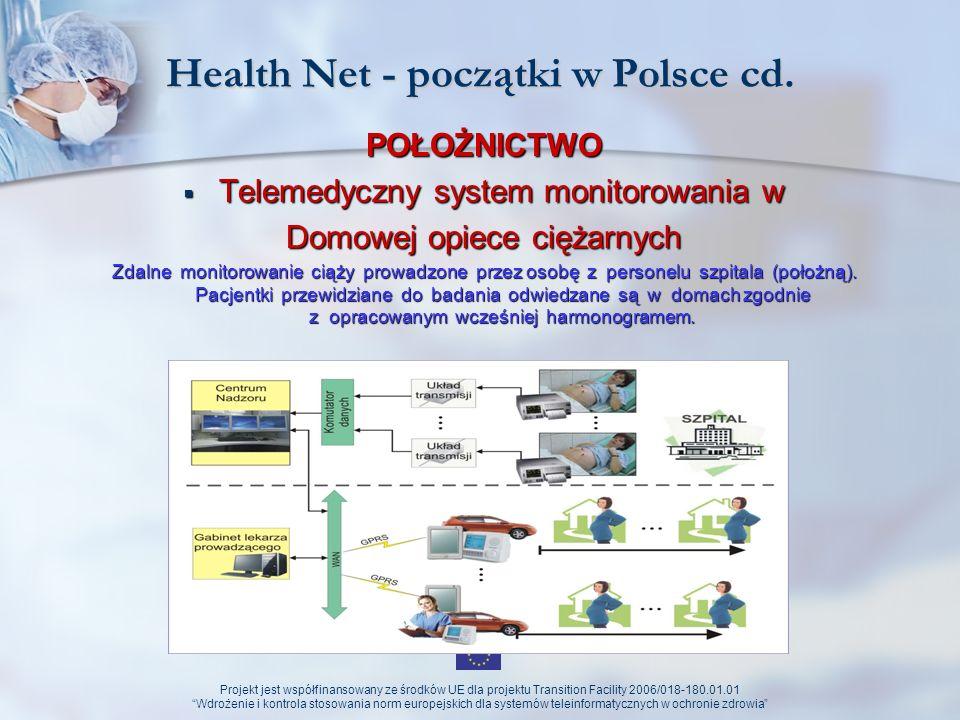 Projekt jest współfinansowany ze środków UE dla projektu Transition Facility 2006/018-180.01.01 Wdrożenie i kontrola stosowania norm europejskich dla systemów teleinformatycznych w ochronie zdrowia Możliwości rozwoju Health Net-u (perspektywy) Portal Epikrates Portal Epikrates o o Portal telekonsultacyjny o o Baza multimedialna zdarzeń medycznych o o Dane statystyczno–sprawozdawcze o o Rozliczenia świadczeń Platforma medyczna Platforma medyczna Elektroniczna Platforma Gromadzenia, Analizy i Udostępniania zasobów cyfrowych o Zdarzeniach Medycznych - udostępnianie: o o informacji o usługach medycznych, o o zasobów cyfrowych rejestrów medycznych