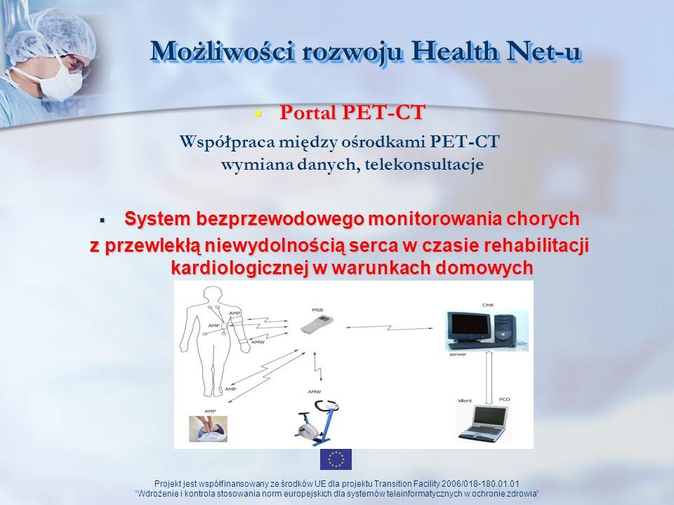 Projekt jest współfinansowany ze środków UE dla projektu Transition Facility 2006/018-180.01.01 Wdrożenie i kontrola stosowania norm europejskich dla systemów teleinformatycznych w ochronie zdrowia Możliwości rozwoju Health Net-u (perspektywy) Telemetryczny system wczesnego ostrzegania dla oddziałów szpitalnych Telemetryczny system wczesnego ostrzegania dla oddziałów szpitalnych pozwalających na szybsze rozpoznanie zagrożenia zdrowotnego oraz efektywną interwencję terapeutyczną przeprowadzoną przez personel wyszkolony w intensywnej terapii.