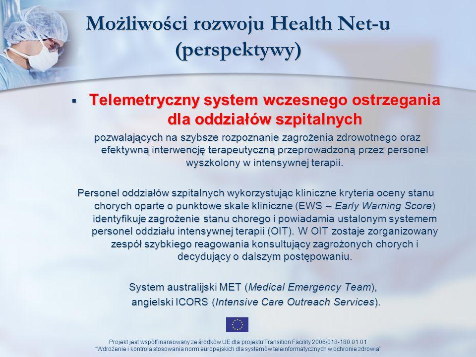 Projekt jest współfinansowany ze środków UE dla projektu Transition Facility 2006/018-180.01.01 Wdrożenie i kontrola stosowania norm europejskich dla systemów teleinformatycznych w ochronie zdrowia Możliwości rozwoju Health Net-u Telemetryczny nadzór przebiegu ciąży z adaptacyjnym doborem funkcji i zakresu analizy rejestrowanych sygnałów w mobilnym monitorze