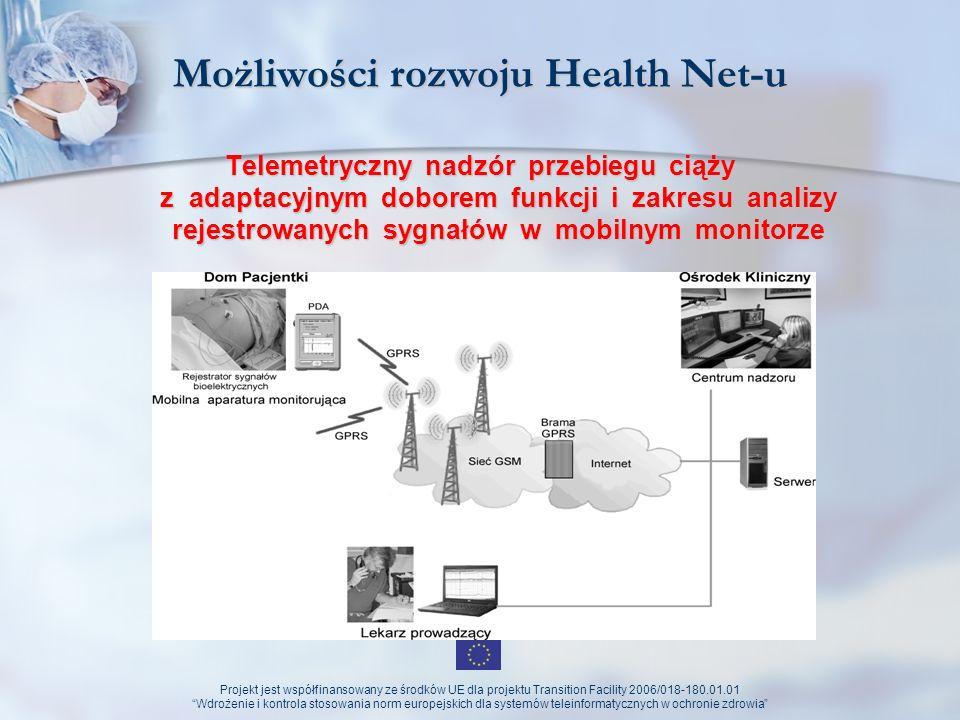 Projekt jest współfinansowany ze środków UE dla projektu Transition Facility 2006/018-180.01.01 Wdrożenie i kontrola stosowania norm europejskich dla systemów teleinformatycznych w ochronie zdrowia Zamiast podsumowania Zamiast podsumowania Rozwój Health Net - cele do osiagnięcia Zorientowanie systemu na pacjenta, nie na administrację kreowanie usług zdrowotnych ogólnodostępnych długofalowy wzrost zainteresowania profilaktyką zdrowotną wzrost świadomości zdrowotnej społeczeństwa lepsza współpraca między ośrodkami lepsze wykorzystanie środków UE i krajowych na programy operacyjne z zakresu zdrowia spadek liczby błędów medycznych.