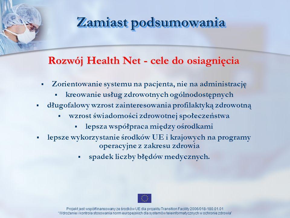 Projekt jest współfinansowany ze środków UE dla projektu Transition Facility 2006/018-180.01.01 Wdrożenie i kontrola stosowania norm europejskich dla systemów teleinformatycznych w ochronie zdrowia Zamiast podsumowania c.d.